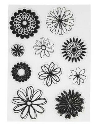 10 Flowers Clear Rubber Stamps/stamping Set-leaf-nature-daisy/gerbera Petal • 5.50£