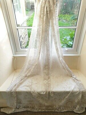 Stunning Rectangular Lacey Vintage French Beige & Cream Tablecloth 198x145cm • 20£