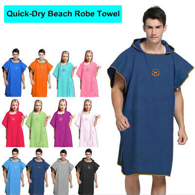 Adult Beach Changing Towel Microfiber Surf Bath Robe Poncho One Size Hooded • 15.99£