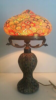 $899 • Buy Vintage Millefiori Glass Mushroom Shaped Lamp With Glass Shade And Base