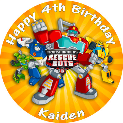 Transformers Rescue Bots Cake Topper Round Personalised Edible Cake Topper • 5.25£