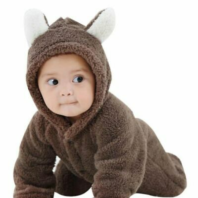 AU18.04 • Buy Newborn Warm Baby Boy Girl Romper Hooded Jumpsuit Bodysuit Outfits Clothes
