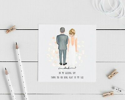 £2.75 • Buy Father Of The Bride, Personalised Thank You Wedding Card, Groom, Bride,  Dad