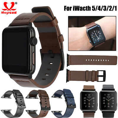 $ CDN8.42 • Buy Genuine Leather Replacement Band For Apple Watch Series 5 4 3 2 1 Wrist Strap
