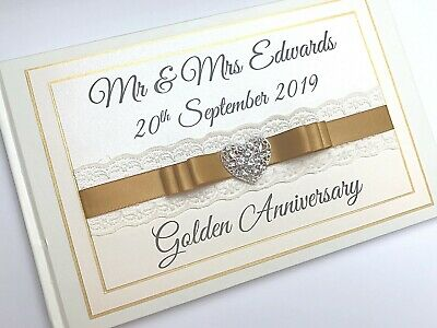 Golden Wedding Anniversary Guest Book. Party Guest Book Lace Diamante Boxed • 20.99£