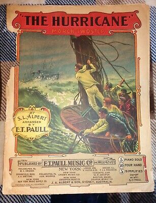 $9.65 • Buy VTG Antique 1906 THE HURRICANE  E.T. Paull Sheet Music Hoen Litho SHIP SEA STORM