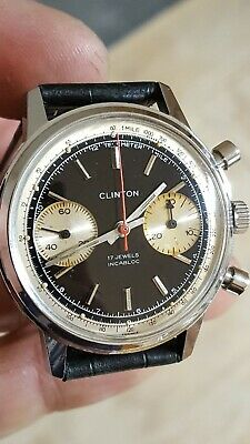 $ CDN723.02 • Buy 1970's Vintage Clinton 17 Watch Co France Chronograph Valjoux 7733 Panda Dial
