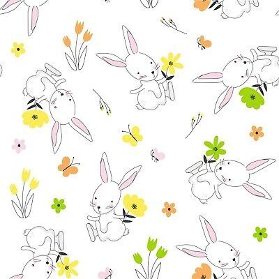 4 X Single Table Napkins/33cm/3-Ply/Decoupage/Easter/Rabbit/Bunny With Flowers • 1.25£