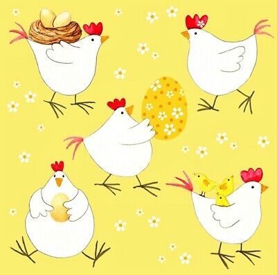 £1.35 • Buy 4 X Single Table Napkins/33cm/3-Ply/Decoupage/Easter/Chickens With Eggs