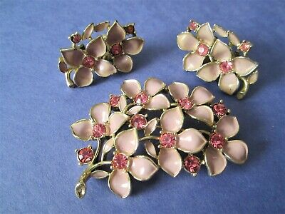 $10 • Buy 3 Piece Set Of Sarah Coventry's Raspberry Ice Earrings And Pin Nos