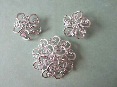 $10 • Buy Sarah Coventry Celestial Ice  Brooch And Matching Earrings 1960's Nos