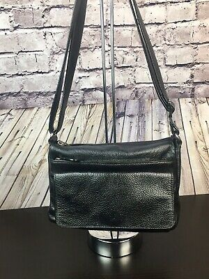 $ CDN35 • Buy Danier Black Pebbled Leather Crossbody/Shoulder Bag W/ Adjustable Strap