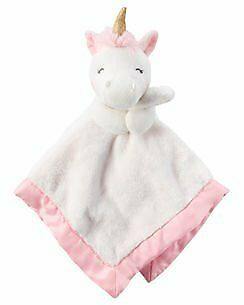 NWT Carters Pink And White Unicorn Gold Horn Plush Baby Toy Security Blanket • 10.91£
