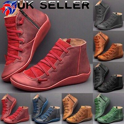 Women's Winter Autumn Arch Support Wedge Zip Side Boots Ankle Shoes Flat Heel • 11.99£