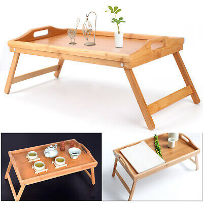 $17.21 • Buy Portable Bamboo Breakfast Bed Tray Serving Laptop Table Folding Leg W/ Handle