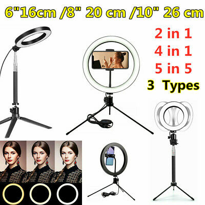 AU36.88 • Buy 6 -10  Inch Dimmable LED Ring Light Tripod Stand Selfie Mini Circle Lamp Make Up