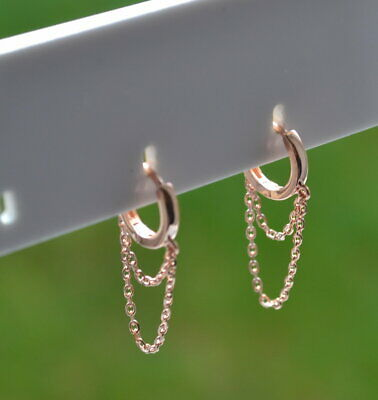 Sterling Silver 925 Rose Gold Plated 10mm Huggie With Chain Drop Earrings • 8.50£
