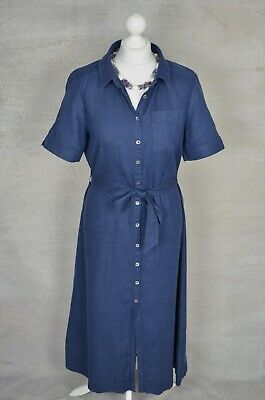 Rrp £179 BRORA Navy Blue Linen Belted Shirt Dress UK 12 Excellent Condition • 49£