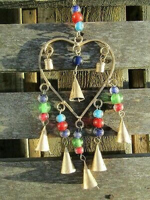 £12.99 • Buy FairTrade Hand Made Metal Love Heart Bells Valentine Windchime Wind Chime Mobile