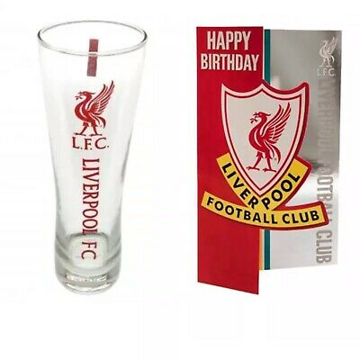 £19.99 • Buy Liverpool FC Birthday Card And Beer Tall Pint Glass Official Club Gift Dad