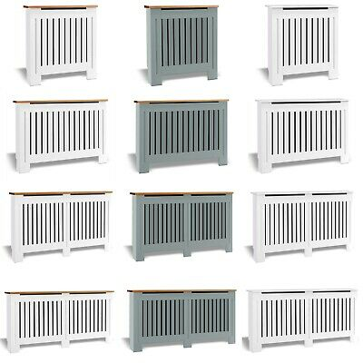 £55.99 • Buy White Radiator Cover Small Large Modern MDF Slats Wood Grill Cabinet Furniture