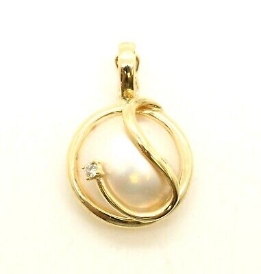 $225 • Buy 14K Solid Gold Natural Diamond Pendant Round Mabe Pearl Charm 1