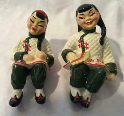$18 • Buy Vintage Ceramic Arts Studio Cas Chinese Couple Sun-li & Su-lin Shelf Sitters