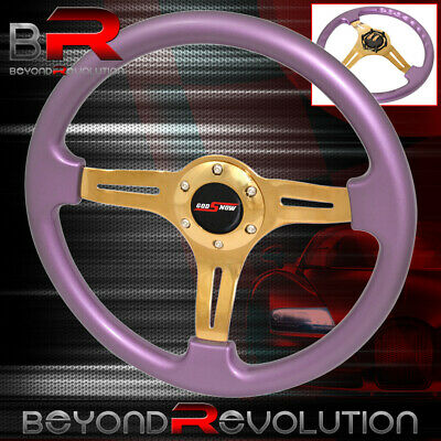 $ CDN108.24 • Buy Godsnow Steering Wheel Purple Gold Center Streak 6 Bolt Hole 350mm Deep Dish