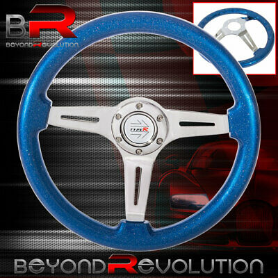 $ CDN87.37 • Buy 3 Spoke Deep Dish Metallic Blue Wood Aluminum Center Type-R Steering Wheel