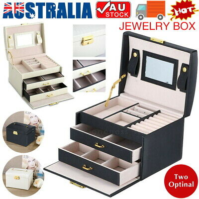AU22.89 • Buy Large Jewellery Box Leather Drawer Storage Necklace Earing Case Cosmetic Travel