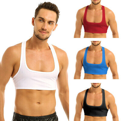Mens Y Back Sleeveless Muscle Half Tank Top Vest Tee T-shirts Clubwear Crop Tops • 3.95£