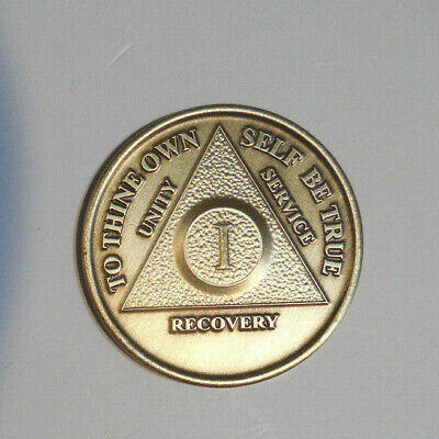$3.20 • Buy New Aa 1 Year Bronze Coin Chip Medallion Alcoholics Anonymous