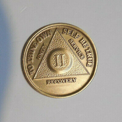 $3.20 • Buy New Aa Bronze Alcoholics Anonymous 2 Year Sobriety Chip Coin Token Medallion