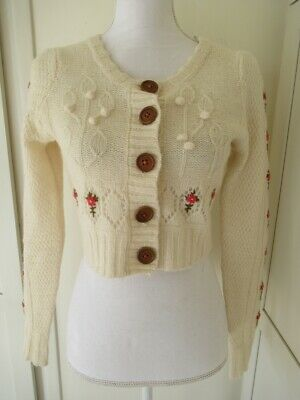 $ CDN39.11 • Buy ANTHROPOLOGIE SLEEPING ON SNOW IVORY FLORAL KNIT CROPPED CARDIGAN S Mohair RARE