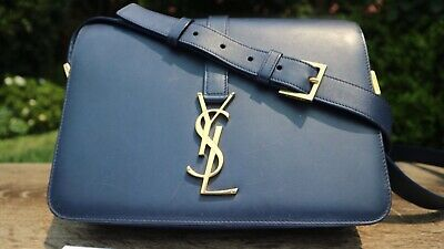 AU800 • Buy Authentic Saint Laurent Classic UniversitÉ Bag In Blue Leather Ysl