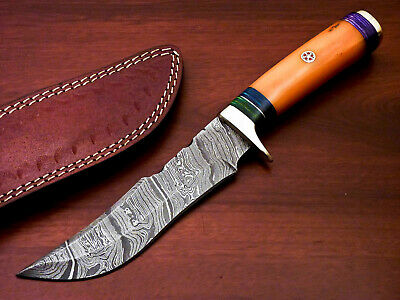 $12.34 • Buy Custom Hand Forged Damascus Steel Hunting Knife - Stained Camel Bone - Pw-2421