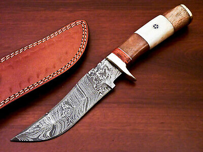 $8.51 • Buy Hand Forged Damascus Steel Hunting Knife - Camel Bone & Natural Wood - Pw-2422