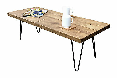 Coffee Table Chunky Rustic Hairpin Legs Vintage Reclaimed Pine Timber Farmhouse • 95£