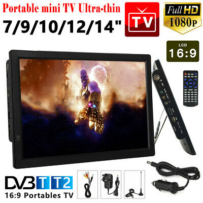 7/9/10/12/14inch Portable 1080P HD TV Freeview HDMI Digital Television Player UK • 99.27£