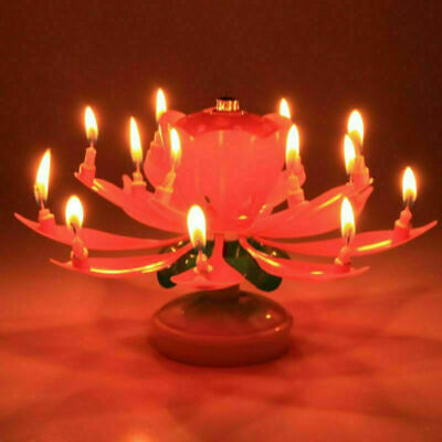 $ CDN3.75 • Buy Magic Cake Birthday Lotus Flower Candle Decoration Blossom Musical Rotating Gift