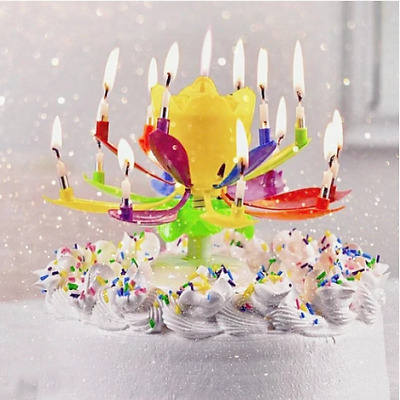 $ CDN6.89 • Buy New Multicolor Rotating Lotus Cake Candle Free Shipping Worldwide