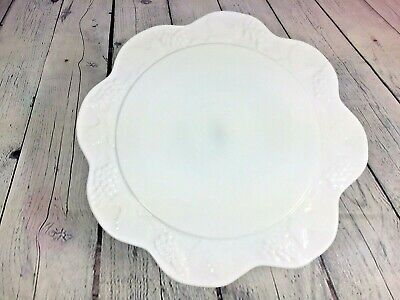 $48.99 • Buy Vintage Milk Glass Cake Plate Footed Grape Leaves Decor - 13.5  X 4.5  Tall