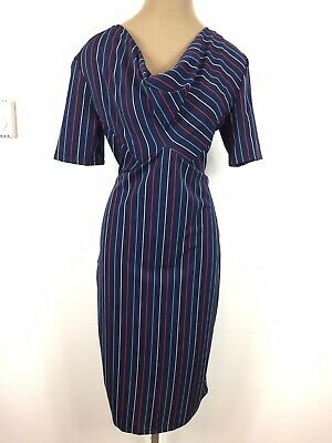 $25 • Buy Zara Midi Cowl Neck Navy Stripe Dress Size XL (Large)