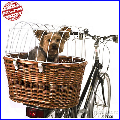 Bicycle Pet Basket Dog Cat Carrier W/ Wire Durable Wicker Bike Travel Box NEW! • 56.95£
