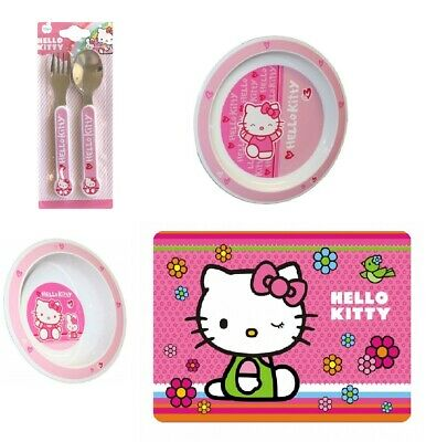Hello Kitty Plate, Bowl, Metal Cutlery Set And Place Mat  • 12.99£