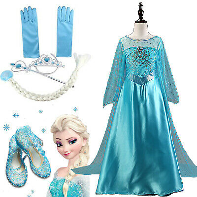 Frozen Elsa Anna Costume Dress Crown Shoes Girls Kids Cosplay Carnival Costume • 12.06£