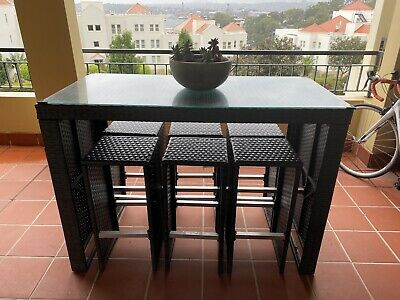 AU120 • Buy Outdoor Ratten Bar Setting - Glass Table Top & 6 Matching Stools