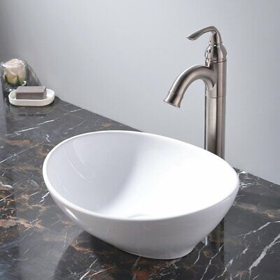 Bathroom Vanity Basin Sink Oval Counter Top Tap Hand Wash Bowl Ceramic Cloakroom • 27.99£