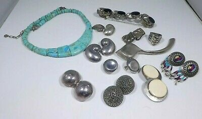 $ CDN176.28 • Buy Lot Of Sterling Silver Jewelry Plus Turquoise Necklace 6.4 Troy Ounces