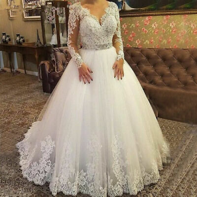 $ CDN157.28 • Buy V-Neck Wedding Dresses A-Line Bridal Gowns Lace Applique Long Sleeve Beaded Belt